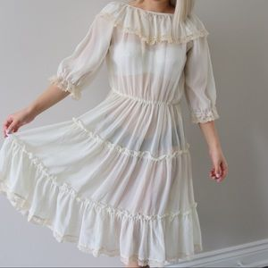 70's Sheer Cream Romantic Prairie Dress